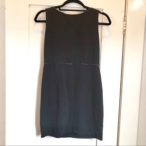 Alice + Olivia Employed Black Leather Trim Dress